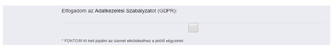 GDPR adatkezelési tájékoztató, szabályzat elfogadása személyes adatok közlésekor